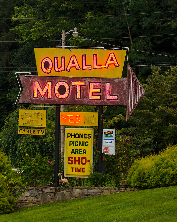 Qualla Motel neon sign, Cherokee North Carolina