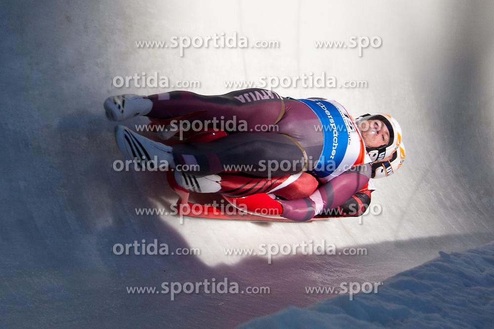 27.11.2010, Eiskanal, Igls, AUT, Viessmann Rennrodel Weltcup in Innsbruck 2010, Herren Doppelsitzer, im Bild Andris Sics und Juris Sics (LAT), EXPA Pictures © 2010, PhotoCredit: EXPA/ J. Groder / SPORTIDA PHOTO AGENCY