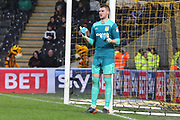 Aston Villa goalkeeper Sam Johnstone (1) organises a defensive wall during the EFL Sky Bet Championship match between Hull City and Aston Villa at the KCOM Stadium, Kingston upon Hull, England on 31 March 2018. Picture by Mick Atkins.