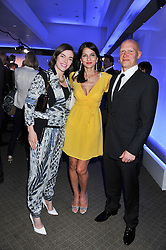 Left to right, CAMILLA RUTHERFORD, YASMIN MILLS and DOMINIC BURNS at a VIP dinner hosted by Maserati following the unveiling of the new Maserati 'Quattroporte' at The Hurlingham Club, London on 17th April 2013.