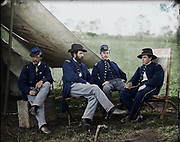 Stunning portraits from American Civil War  bright back to life in colour<br /> <br /> <br /> Group of Officers, Headquarters, Army of the Potomac - Date: c. 1863<br /> <br /> [Culpeper Virginia]. Group of officers headquarters Army of the Potomac Date: c. 1863 Civil War photographs 1861-1865 / compiled by Hirst D. Milhollen and Donald H. Mugridge Washington D.C. : Library of Congress 1977. No. 0283 Title from Milhollen and Mugridge. Forms part of Selected Civil War photographs 1861-1865 (Library of Congress) United States--History--Civil War 1861-1865--Military personnel--Union. Military bands. Infantry--Union. 114th Pennsylvania Infantry.United States--Virginia--Brandy Station. 1 negative : glass wet collodion. LC-B817- 7611[P&P] Library of Congress Prints and Photographs Division Washington D.C. 20540 USA<br /> <br /> ©Frédéric DurIiez/Exclusivepix Media