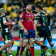 Scott Higginbotham (captain) reacts to Sam Lousi score during the Super rugby union game (Round 14) played between Hurricanes v Reds, on 18 May 2018, at Westpac Stadium, Wellington, New  Zealand.    Hurricanes won 38-34.