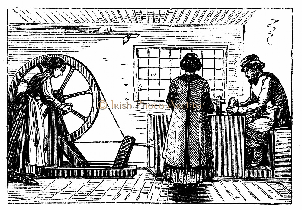 Potter's workshop with woman turning the wheel and girl baller supplying the potter with lumps of clay of the correct weight for the next vessel to be thrown. Woodcut c1860
