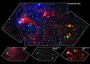 Star Formation in the DR21 Region (A). Hidden behind a shroud of dust in the constellation Cygnus is a stellar nursery called DR21, which is giving birth to some of the most massive stars in our galaxy. Visible light images reveal no trace of this interstellar cauldron because of heavy dust obscuration. Image from the Spitzer Space Telescope. Views at visible wavelengths appear blue, near-infrared light is depicted as green, and mid-infrared data from the Infrared Array Camera (IRAC) aboard NASA's Spitzer Space Telescope is portrayed as red. The result is a contrast between structures seen in visible light (blue) and those observed in the infrared (yellow and red).