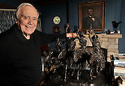 "Ernest Borgnine looks at the Remington statue he keeps in his ""Lincoln Room.""  will be honored with a Screen Actors Guild Lifetime Acheivement Award on January 30. Beverly Hills, CA 1-21-2011. (John McCoy/staff photographer)"