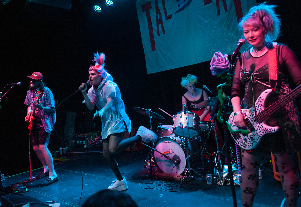 Eric Randall, left, Emily Nokes, Lelah Maupin and Bree McKenna of Tacocat performing at the Constellation Room in Santa Ana, CA, April 19, 2017