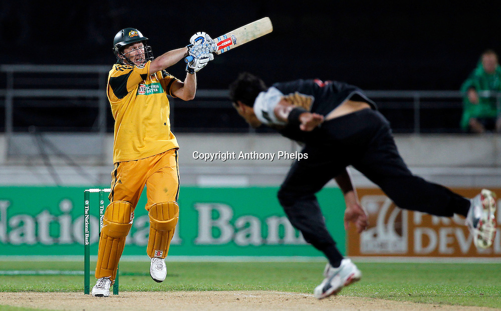 David Hussey plays a shot off Daryl Tuffey New Zealand v Australia Twenty20 cricket match. Westpac Stadium, Wellington. Friday 26 February 2010. Photo: Anthony Phelps/PHOTOSPORT