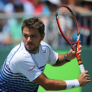 Stan Wawrinka of Switzerland is seen during his match against Adrian Mannarino of France at the Miami Open tennis tournament on Sunday, March 29, 2015 in Key Biscayne, Florida. (AP Photo/Alex Menendez)