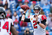 NASHVILLE, TN - OCTOBER 25:  Matt Ryan #2 throws a pass to Devonta Freeman #24 of the Atlanta Falcons during a game against the Tennessee Titans at Nissan Stadium on October 25, 2015 in Nashville, Tennessee.  The Falcons defeated the Titans 10-7.  (Photo by Wesley Hitt/Getty Images) *** Local Caption *** Matt Ryan; Devonta Freeman