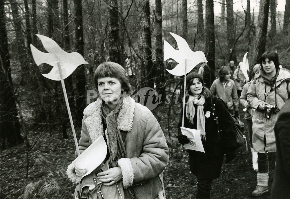 Embrace the Base - Greenham Common; 12 December 1982; mass action by 1500 women to link arms and encircle the USAF air base; UK
