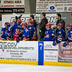 COCHRANE, ON - MAY 1:  The Oakville bench celebrates a goal on May 1, 2019 at Tim Horton Events Centre in Cochrane, Ontario, Canada.<br /> (Photo by Christian Bender / OJHL Images)