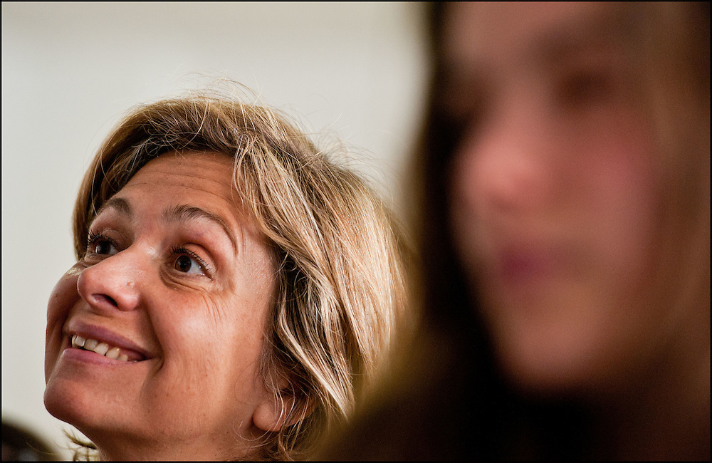 Valérie Pécresse, Ministre de l'enseignement supérieur et de la recherche, lors d'une rencontre organisée avec une classe de Première sur l'orientation Post-Bac. Lycée Maurice Ravel à Paris le 19 Mai 2011. ©Benjamin Girette/IP3Press