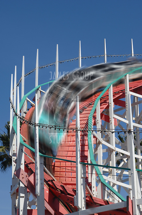 Roller Coaster with cars in a motion blur