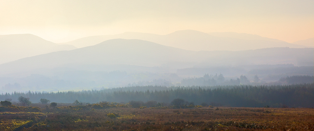 Panoramic Misty Sunrise Kerry Highlands, County Kerry, Ireland / ba076