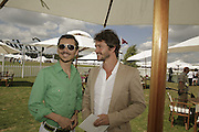 Matthew Williamson and Hugh Dancy, Cartier International Polo. Guards Polo Club. Windsor Great Park. 30 July 2006. ONE TIME USE ONLY - DO NOT ARCHIVE  © Copyright Photograph by Dafydd Jones 66 Stockwell Park Rd. London SW9 0DA Tel 020 7733 0108 www.dafjones.com
