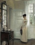 Carl Holsoe, Danish Painter, 1863-1935, Woman standing in a salon