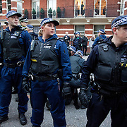 Small groups of students followed by police moved down towards Victoria station with several arrest made after various Government Departments and shops had been tageted with pain bombs. Thousands of students turned out to a march against fees and cuts in the education sector, calling for workers and students to unite against the Government's austerity policies.