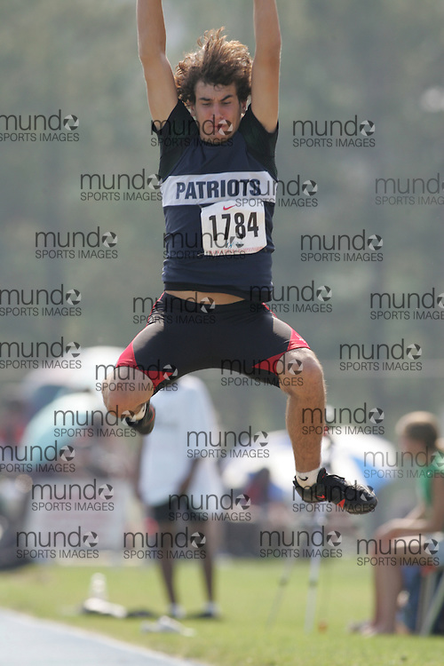 Jean-Paul Lauzon competing in the midget boys long jump at the 2007 OFSAA Ontario High School Track and Field Championships in Ottawa.