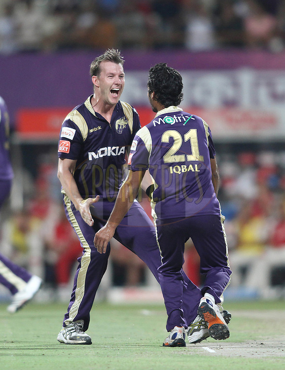 Brett Lee of the Kolkata Knight Riders and Iqbal Abdulla of the Kolkata Knight Riders celebrate after running out Shaun Marsh of the Kings XI Punjab during match 37 of the Indian Premier League ( IPL ) between the Kolkata Knight Riders and the Royal Kings XI Punjab held at Eden Gardens Cricket Stadium in Kolkata, India on the 30th April 2011..Photo by Shaun Roy/BCCI/SPORTZPICS
