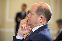 17 APR 2018, BERLIN/GERMANY:<br /> Olaf Scholz, SPD, Bundesfinanzminister, Zolljahrespressekonferenz, Bundesministerium der Finanzen<br /> IMAGE: 20180417-01-042