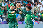 Wicket - Shadab Khan of Pakistan celebrates taking the wicket of Mosaddek Hossain of Bangladesh during the ICC Cricket World Cup 2019 match between Pakistan and Bangladesh at Lord's Cricket Ground, St John's Wood, United Kingdom on 5 July 2019.