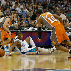 08 April 2009: New Orleans Hornets guard Antonio Daniels (50) scrambles for a loose ball with Phoenix Suns guard Leandro Barbosa (10) and Phoenix Suns guard Goran Dragic (2) during a 105-100 loss by the New Orleans Hornets to the Phoenix Suns at the New Orleans Arena in New Orleans, Louisiana.