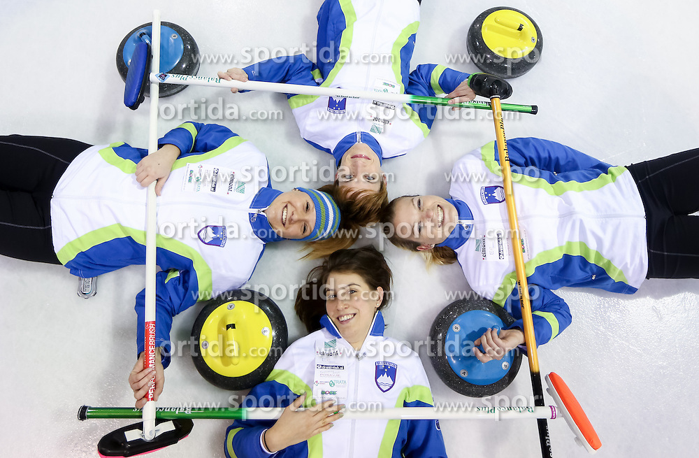 Tjasa Jazbec, Valentina Jurincic (down), Anja Kresnik (up) and Petra Klemenc posing during a training session of Team Slovenia Women Curling team for 2013 European Women's Curling Championships in Norway on November 18, 2013 in Arena Zalog, Ljubljana, Slovenia.  Photo by Vid Ponikvar / Sportida