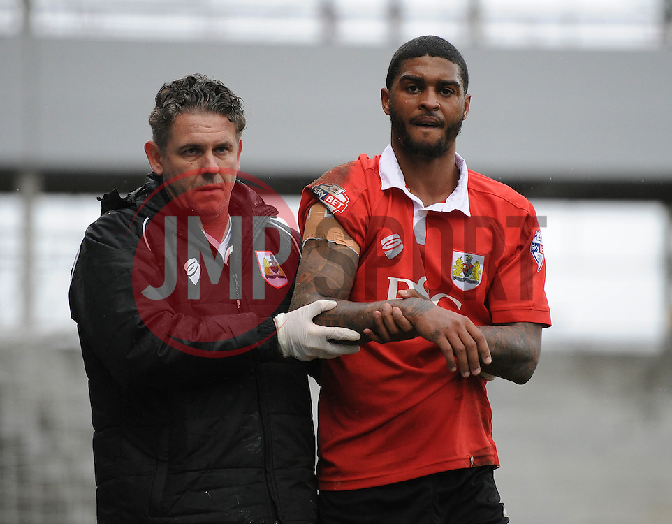 Bristol City's Mark Little leaves the field after picking up an injury - Photo mandatory by-line: Dougie Allward/JMP - Mobile: 07966 386802 - 03/04/2015 - SPORT - Football - Oldham - Boundary Park - Bristol City v Oldham Athletic - Sky Bet League One