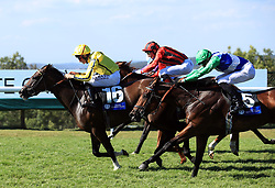 Pretty Baby ridden by jockey Dane O'Neill (left) comes homes winning the L'Ormarins Queens Plate Oak Tree Stakes during day four of the Qatar Goodwood Festival at Goodwood Racecourse, Chichester.