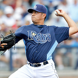 March 21, 2012; Port Charlotte, FL, USA; Tampa Bay Rays relief pitcher Cesar Ramos (27) throws against the New York Yankees during the top of the sixth inning of a spring training game at Charlotte Sports Park.  Mandatory Credit: Derick E. Hingle-US PRESSWIRE