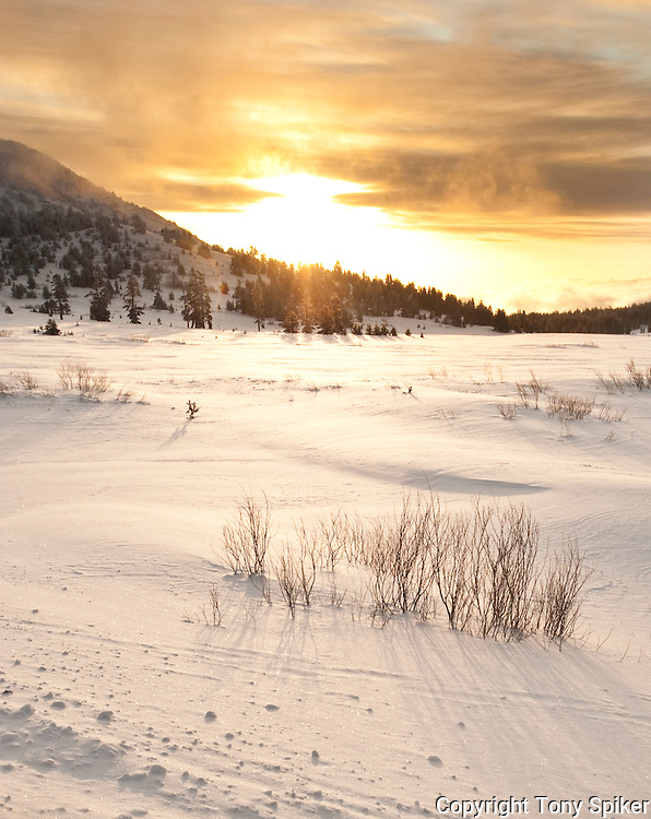 """Winter Sunrsie at Tahoe Meadows 2"" - The sun peeks over Mt Rose and shines on Tahoe Meadows"