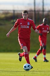 LIVERPOOL, ENGLAND - Tuesday, January 11, 2011: Liverpool's John Flanagan in action against Sunderland during the FA Premiership Reserves League (Northern Division) match at the Kirkby Academy. (Pic by: David Rawcliffe/Propaganda)