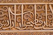 Detail of Arabic Carving at the Patio de los Arrayanes. Alhambra de Granada, Andalusia, Spain. EN. Detail of Arabic Carving at the Patio de los Arrayanes. Alhambra de Granada, Andalusia, Spain.<br /> <br /> ES. Detalle en relieve de texto &aacute;rabe en el Patio de los Arrayanes.  Alhambra de Granada, Andaluc&iacute;a, Espa&ntilde;a.