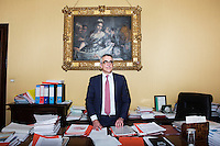 SIENA, ITALY - 20 MARCH 2015: Angelo Riccaboni, dean of the University of Siena, poses for a portrait in his office  in Siena, Italy, on March 20th 2015.<br /> <br /> Siena, a Tuscan city and UNESCO World Heritage Site, is home to Monte dei Paschi di Siena, the world's oldest surviving bank and Italy's third largest bank. The bank, founded in 1472, was the largest employer in Siena, and it helped finance a host of community projects and services until it stumbled during the financial crisis started in 2008.