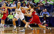 SOUTH BEND, IN - FEBRUARY 11: Skylar Diggins #4 of the Notre Dame Fighting Irish guards as Jude Schimmel #22 of the Louisville Cardinals attempts to pass the ball off at Purcel Pavilion on February 11, 2013 in South Bend, Indiana. Notre Dame defeated Louisville 93-64. (Photo by Michael Hickey/Getty Images) *** Local Caption *** Skylar Diggins; Name