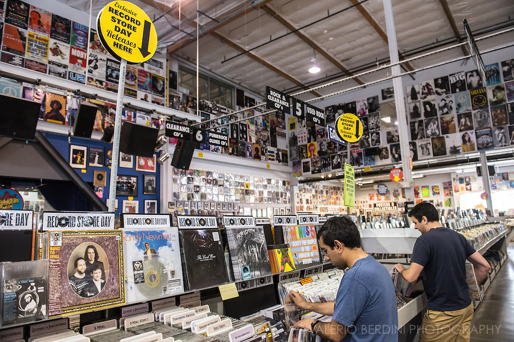 Record Store Day at Amoeba in Los Angeles. This is the world largest independent Record Store. Sunset Boulevard, Los Angeles.