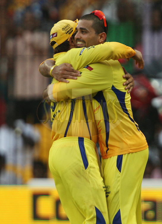 Murali Vijay and Suresh Raina celebrate a wicket during match 43 of the Indian Premier League ( IPL ) Season 4 between the Chennai Superkings and c held at the MA Chidambaram Stadium in Chennai, Tamil Nadu, India on the 4th May 2011..Photo by Jacques Rossouw/BCCI/SPORTZPICS .