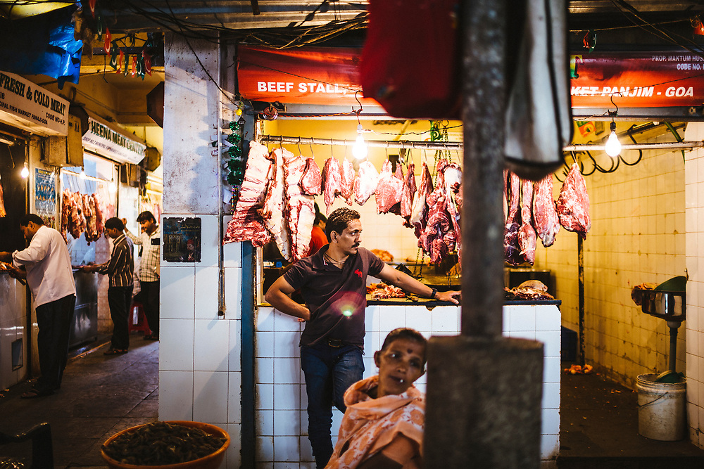 A butcher at the local market in Panjim, India.