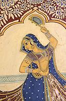 Inde. Rajasthan. Region du Shekawati. Village de Nawalgarh. Peinture à l'interieur d'une Haveli (Palais) // India. Rajasthan. Shekawati area. Nawalgarh village. Painting inside an Haveli (palace).