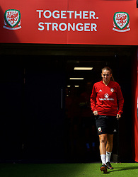 SWANSEA, WALES - Wednesday, June 6, 2018: Wales' Kayleigh Green walks out of the players' tunnel before a training session at the Liberty Stadium ahead of the FIFA Women's World Cup 2019 Qualifying Round Group 1 match against Bosnia and Herzegovina. (Pic by David Rawcliffe/Propaganda)