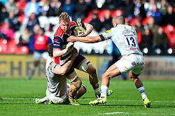 Mitch Eadie of Bristol Rugby is tackled by Elliott Stooke of Bath Rugby and Jonathan Joseph - Mandatory by-line: Dougie Allward/JMP - 26/02/2017 - RUGBY - Ashton Gate - Bristol, England - Bristol Rugby v Bath Rugby - Aviva Premiership