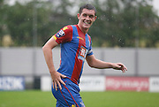 Connor Dymond is all smiles in the rain during the Final Thirds Development League match between U21 Crystal Palace and U21 Watford at Selhurst Park, London, England on 24 August 2015. Photo by Michael Hulf.