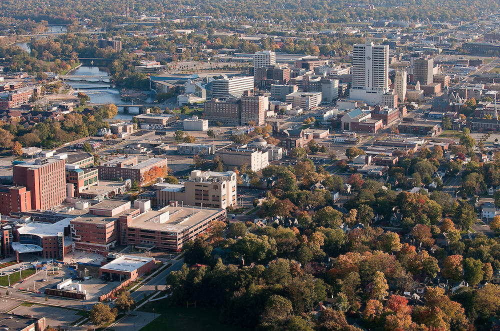 Aerial of downtown South Bend