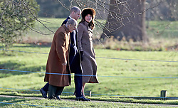 The Duke of Edinburgh, and The Duke and Duchess of Cambridge walk as they attend the Sunday church service held at St Mary Magdalene church on the royal Sandringham estate in Norfolk