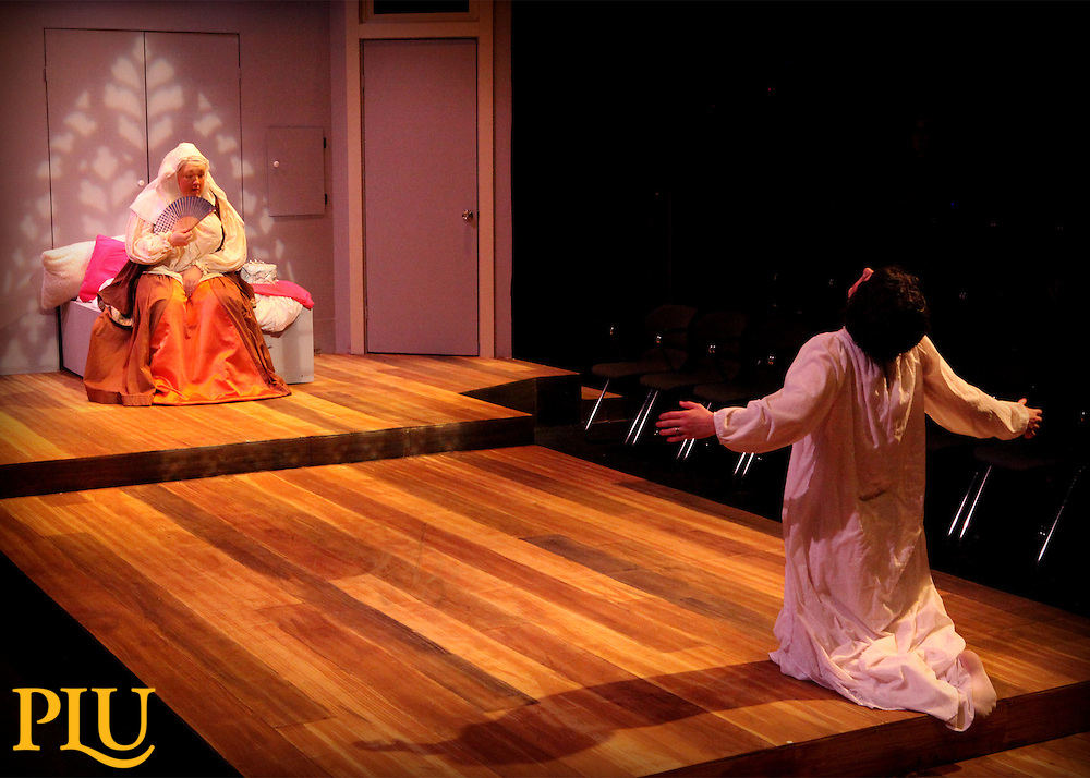 Rehearsal for Goodnight Desdemona (Good Morning Juliet) in the Studio Theatre at PLU, on Wednesday, March 9, 2016. Cast includes Jacob Viramontes, Tyler Dobies, Jacob McCallister, Sarah Hubert, Morgan Deklyen, Brian Loughridge, Lexi Jason, Dane Ostlie-Olson. (Photo: Robert R. Carrasco/PLU)