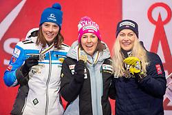 08.02.2019, Aare, SWE, FIS Weltmeisterschaften Ski Alpin, alpine Kombination, Siegerehrung, Damen, im Bild v.l.: Silbermedaillengewinnerin Petra Vlhova (SVK), Weltmeisterin und Goldmedaillengewinnerin Wendy Holdener (SUI), Bronzemedaillengewinnerin Corinne Suter (SUI) // f.l.: Silver medalist Petra Vlhova of Slovakia World champion and gold medalist Wendy Holdener of Switzerland Bronze medalist Ragnhild Mowinckel of Norway during the winner Ceremony for the ladie's alpine combination of FIS Ski World Championships 2019. Aare, Sweden on 2019/02/08. EXPA Pictures © 2019, PhotoCredit: EXPA/ Dominik Angerer