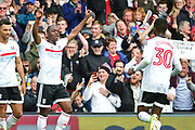 Fulham midfielder Neeskens Kebano (7) celebrates his goal 3-1 during the EFL Sky Bet Championship match between Fulham and Aston Villa at Craven Cottage, London, England on 17 April 2017. Photo by Jon Bromley.