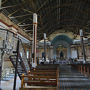 Inside of St Augustin Church of Paoay, Ilocos Norte, The Philippines. Parish founded by Augustinian missionaires in 1593; damaged by earthquakes in 1707 & 1927. Used before completion and kept in repair by the people under joint auspices of church and town officials.