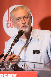 © Licensed to London News Pictures. 01/09/2015. London, UK. Jeremy Corbyn speaking at the Arcola Theatre in Dalston, east London this evening, where he launched his Vision for the future of the arts. Photo credit : Vickie Flores/LNP