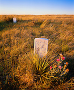 1100-1013 ~ Copyright:  George H. H. Huey ~ Markers for Lt. James Calhoun, and Lt. Crittenden on Calhoun Hill where on June 25, 1876, the U.S. 7th Cavalry was defeated by Lakota, Cheyenne and Arapaho Indians.  Little Bighorn Battlefield National Monument, Montana.